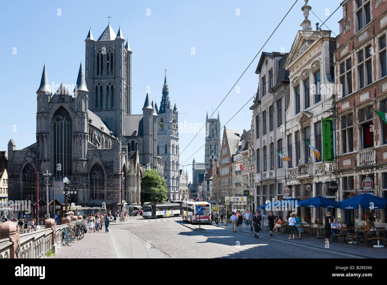 View down St Michielshelling towards St Niklasskerk, Gouden Leeuwplein and the Cathedral, Ghent, Belgium - Stock Image