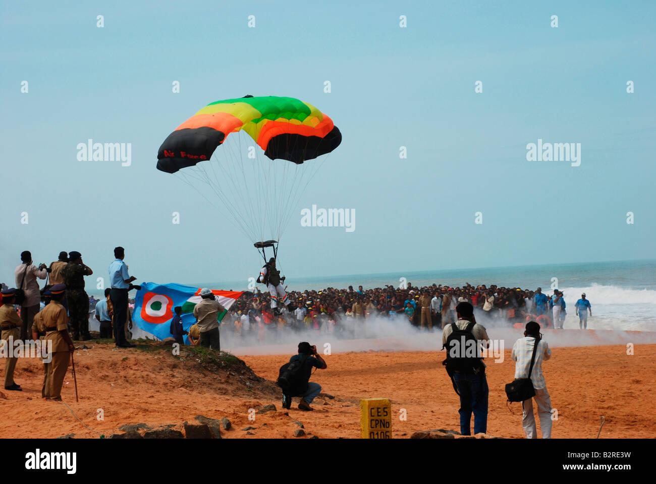 Indian paratrooper landing in a beach at Trivandrum,Kerala,India - Stock Image