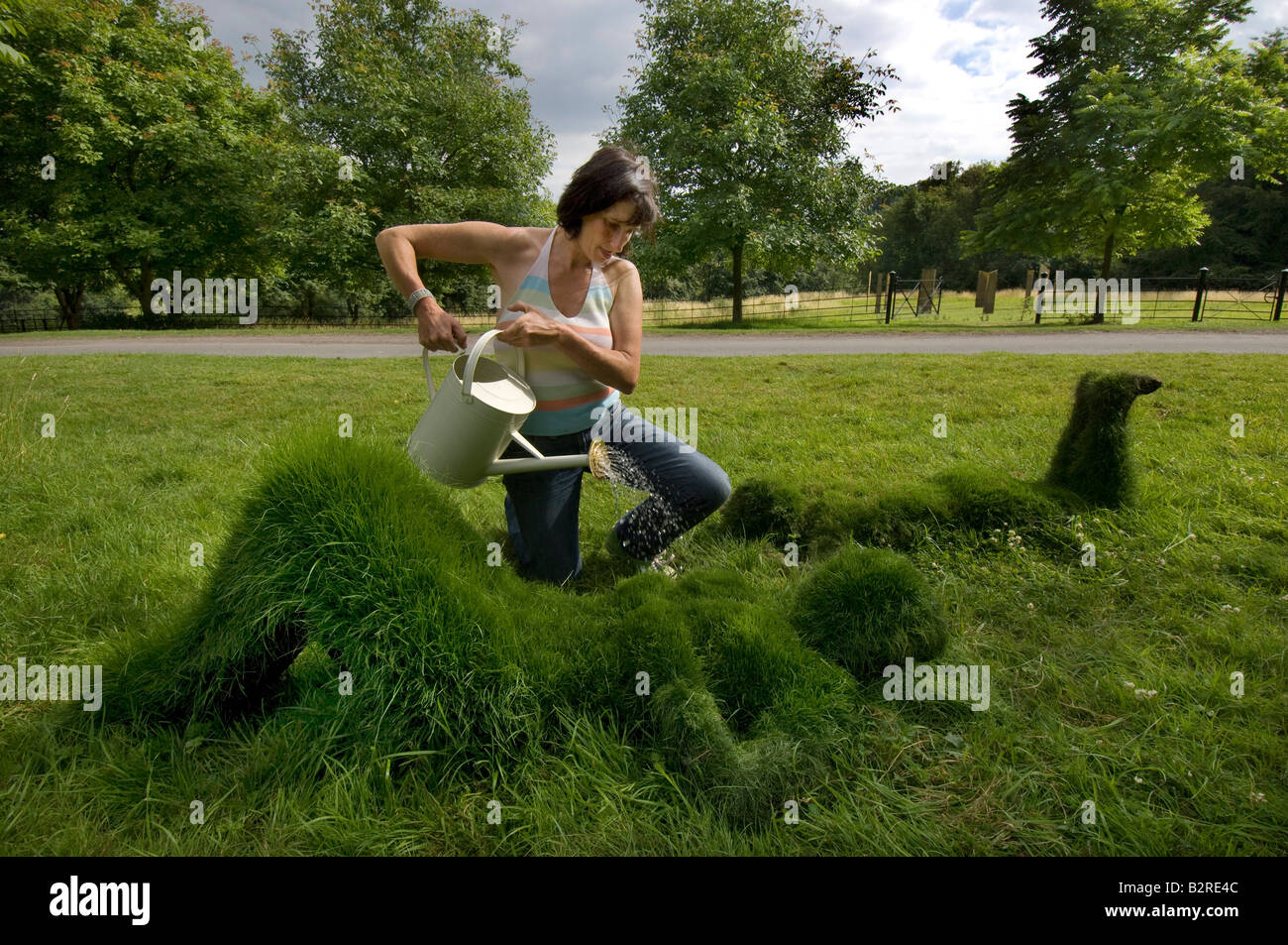 Artist Sharon Baker waters some of her grass sculptures of human figures with a watering can - Stock Image