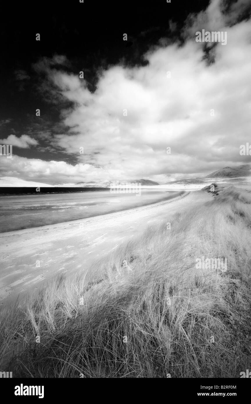 Infrared image of Seilebost beach, Isle of Harris, Hebrides, Scotland, UK - Stock Image