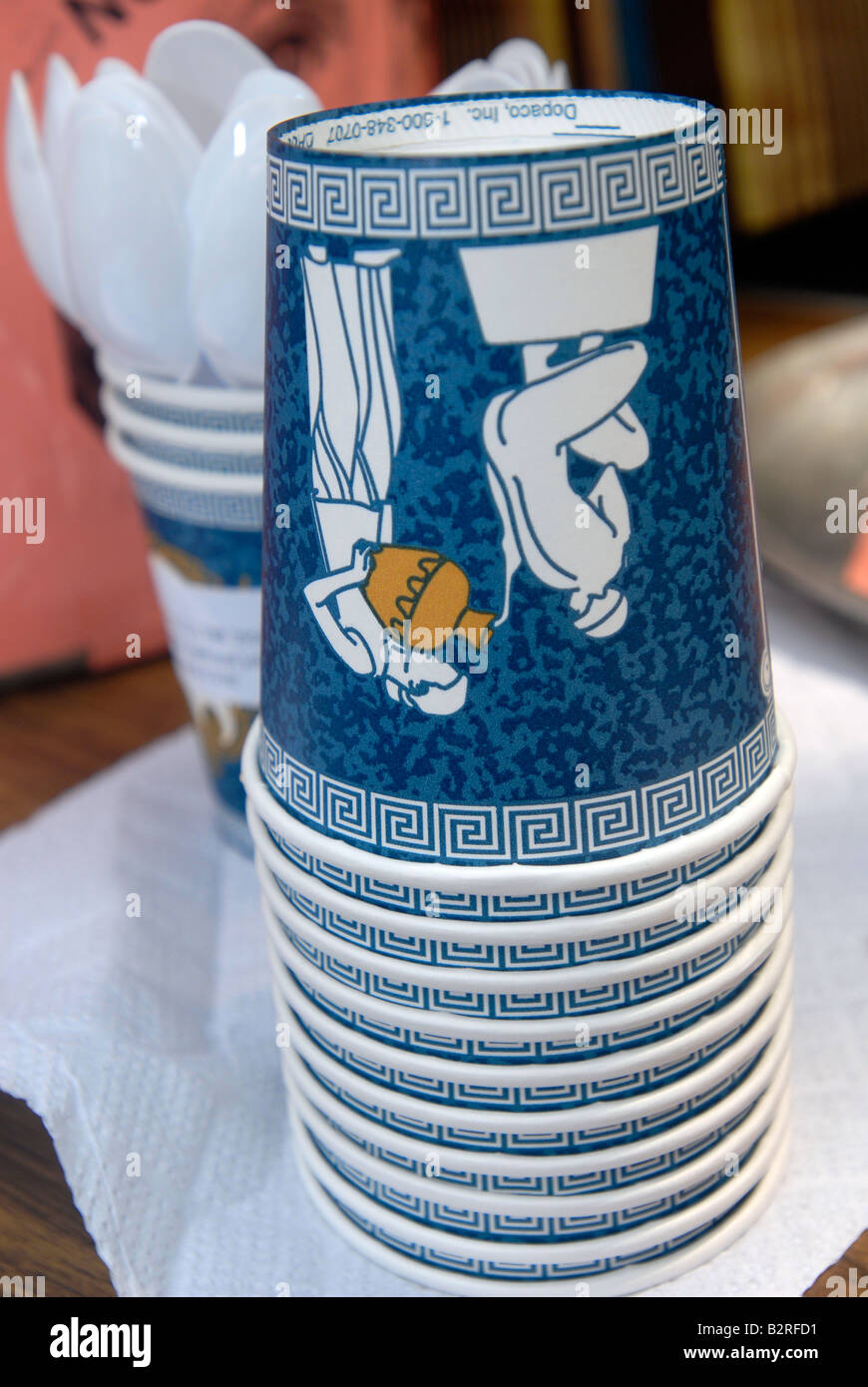 Iconic stacked coffee cups of the type used in Greek diners in New York - Stock Image