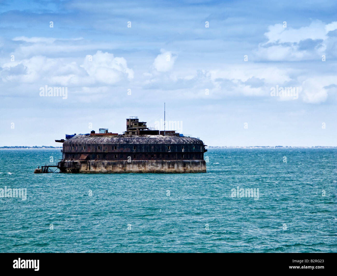 Horse Sand fort in The Solent at the entrance to Portsmouth Harbour, England, UK - Stock Image