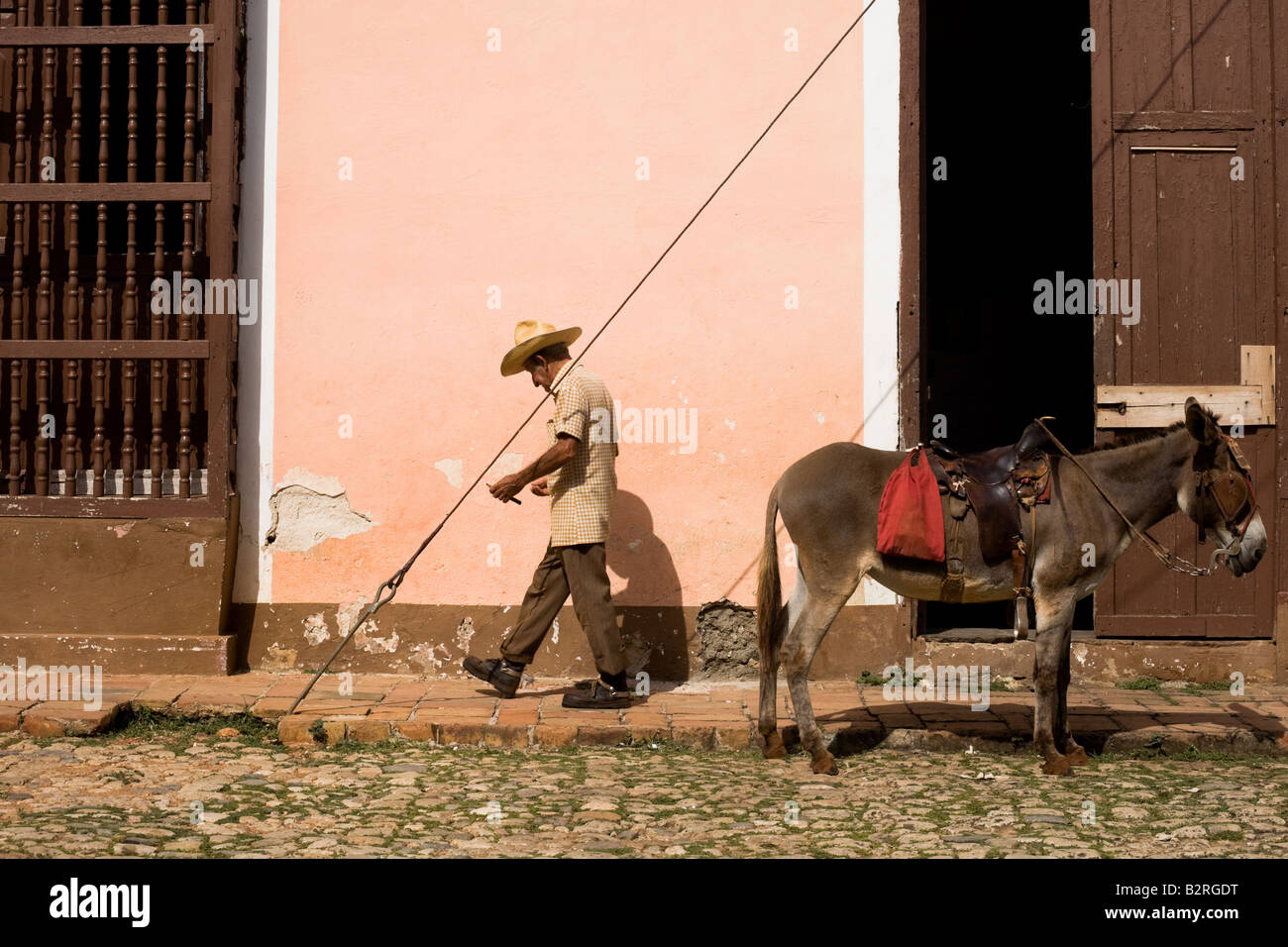 Elderly man and his donkey on the street of Trinidad, Cuba - Stock Image
