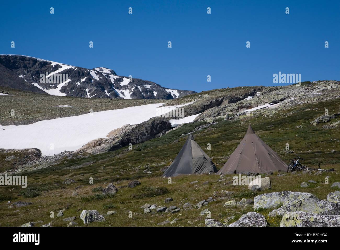 Norway Glittertind Laplander s tents summer 2008 - Stock Image