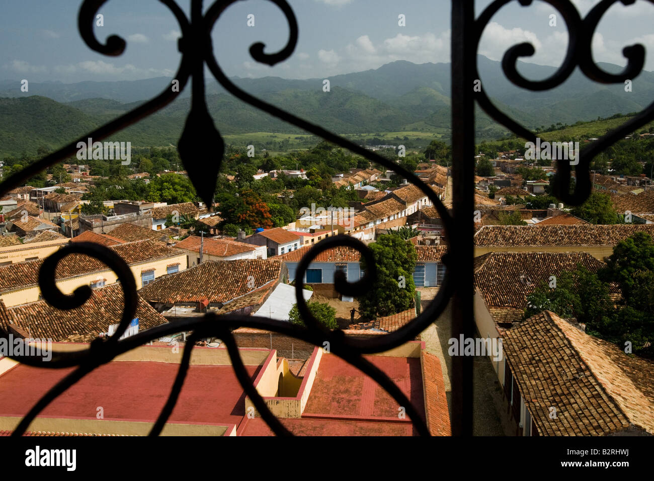 View from the bell tower of the San Francisco de Asis convent over Trinidad, Cuba Stock Photo