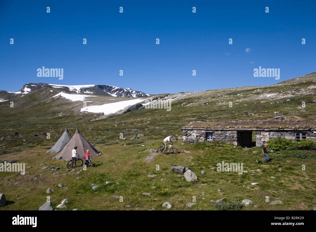 Norway Glittertind Laplander s tents and bikers summer 2008 - Stock Image