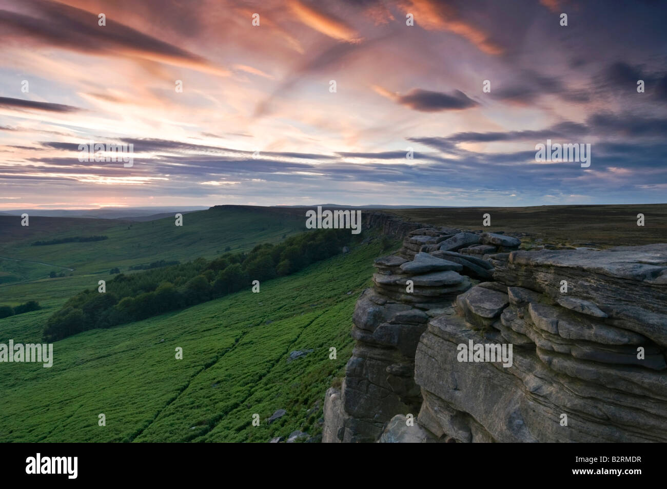 Stanage Edge at Sunset, Peak District National Park, Derbyshire, England, UK - Stock Image