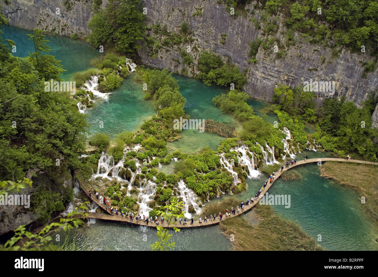 Plitvice Lakes National Park waterfalls in canyon at northern lower end of park with visitors boardwalk - Stock Image