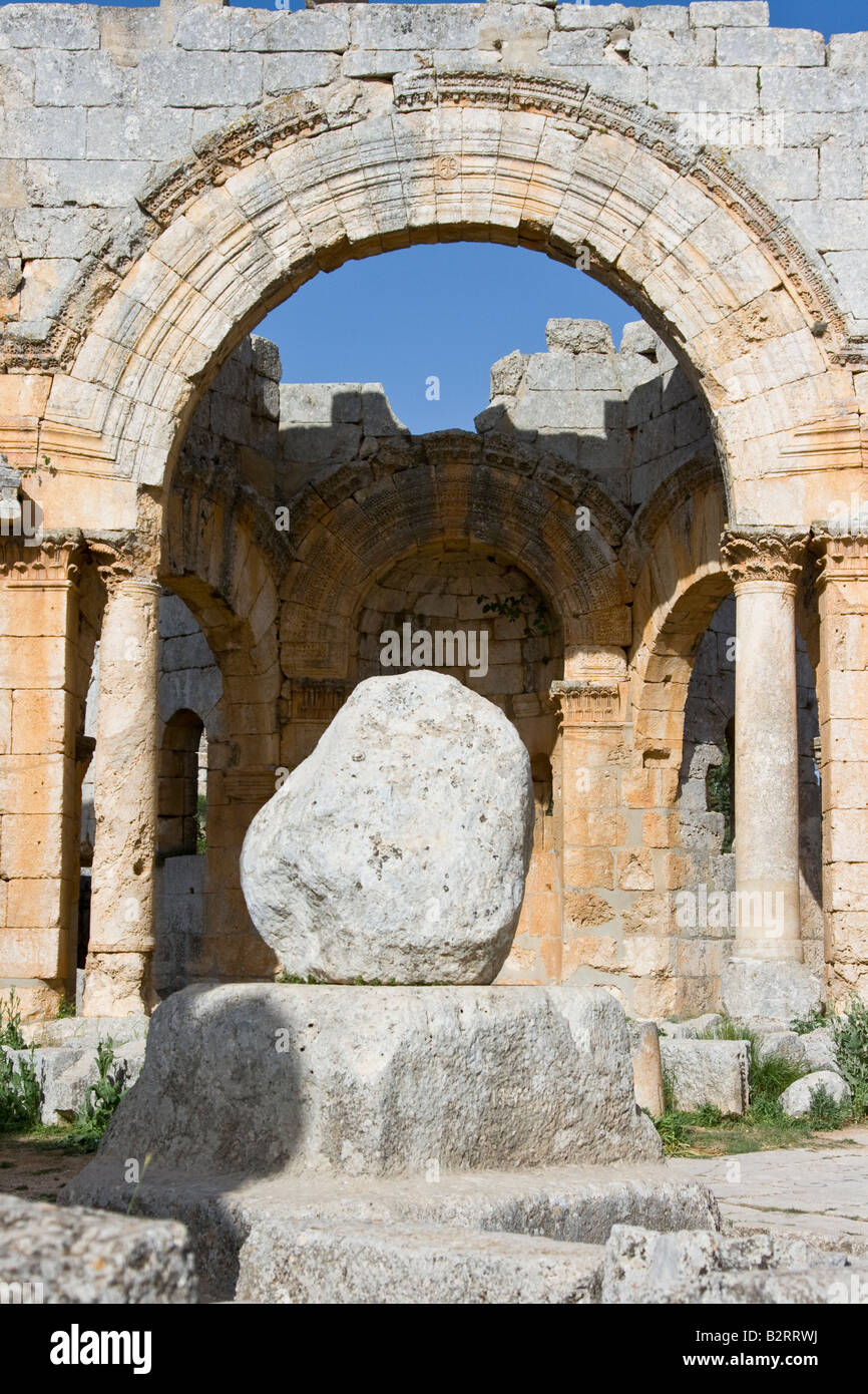 Remains of the Famous Pillar inside the Ruins at Saint Simeon in Syria - Stock Image