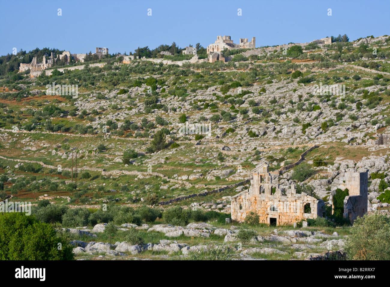 Saint Simeon Ruins and Cathedral Ruins at at Deir Samaan Dead City in Syria - Stock Image