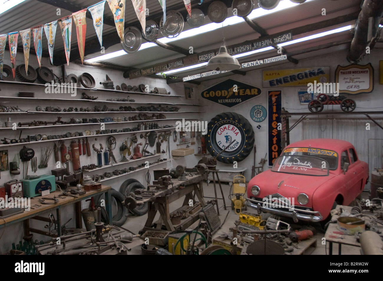 An old car mechanic repair shop exhibited in Rocsen Museum, Nono ...
