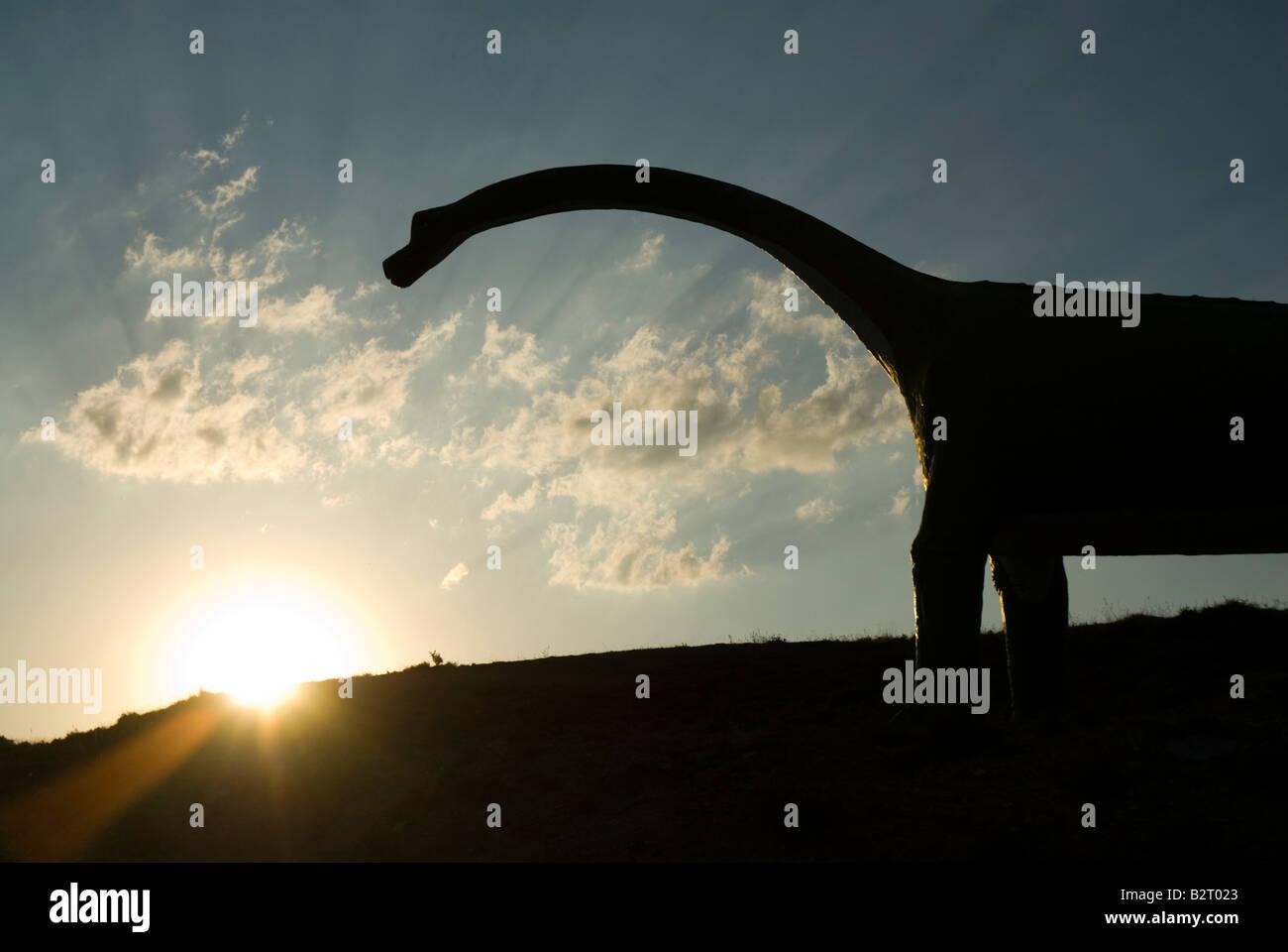 Life size Replica of sauropod dinosaur in Villar del Rio Soria Province Spain - Stock Image
