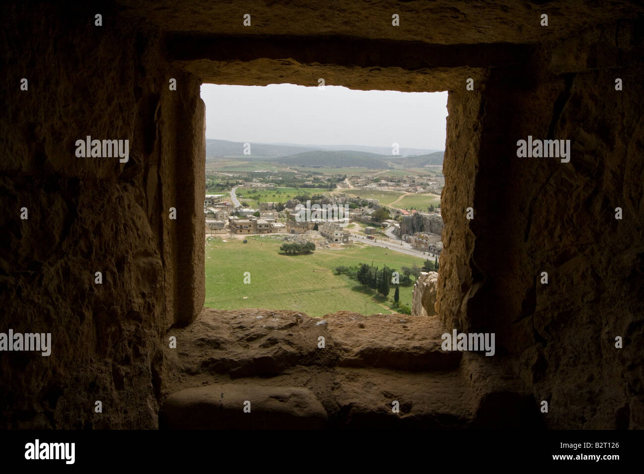 View From a Window at Qalaat Misyaf One of the Assassin Castles in Syria - Stock Image