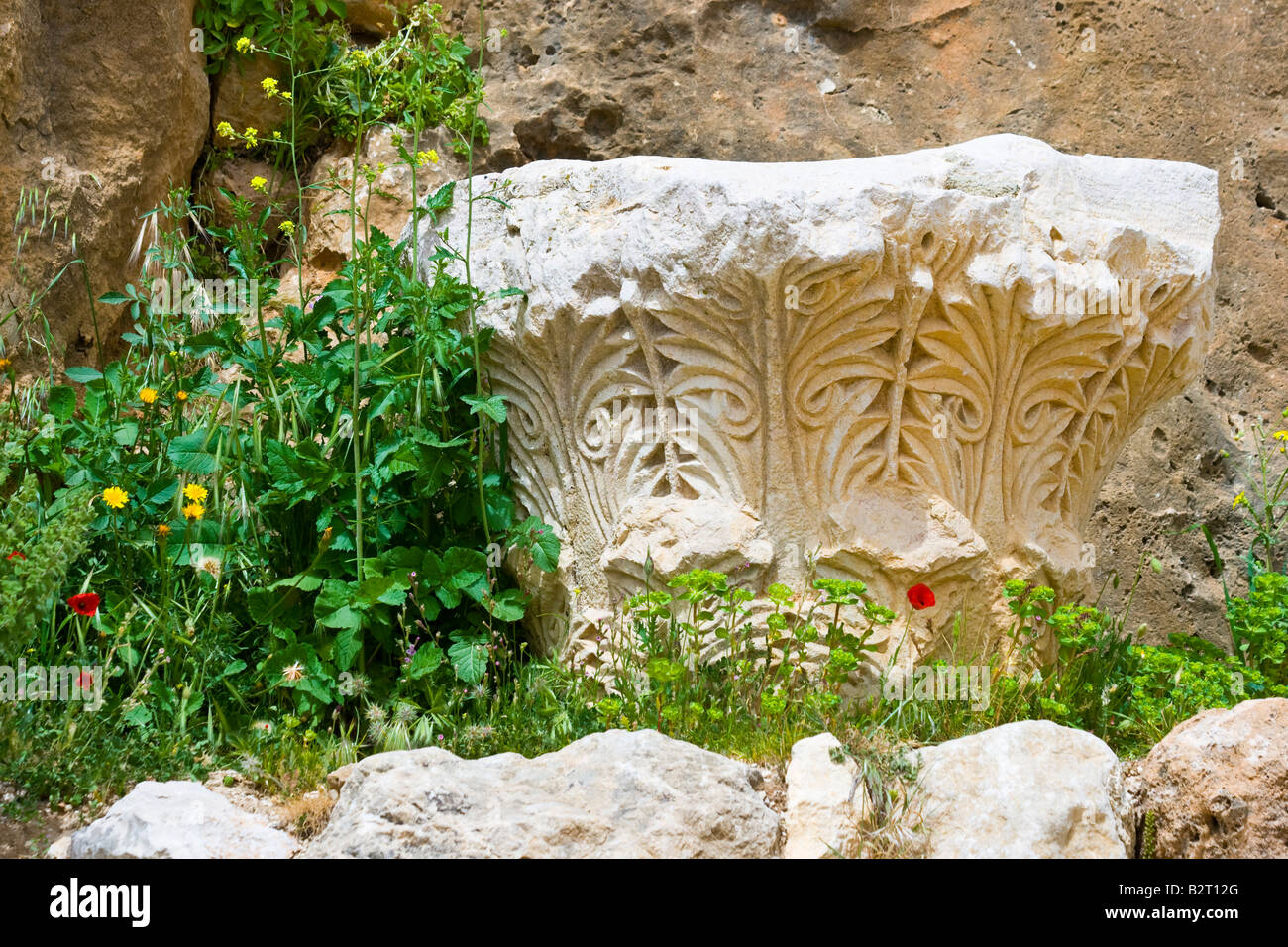 Roman Capital at Qalaat Misyaf One of the Assassin Castles in Syria - Stock Image