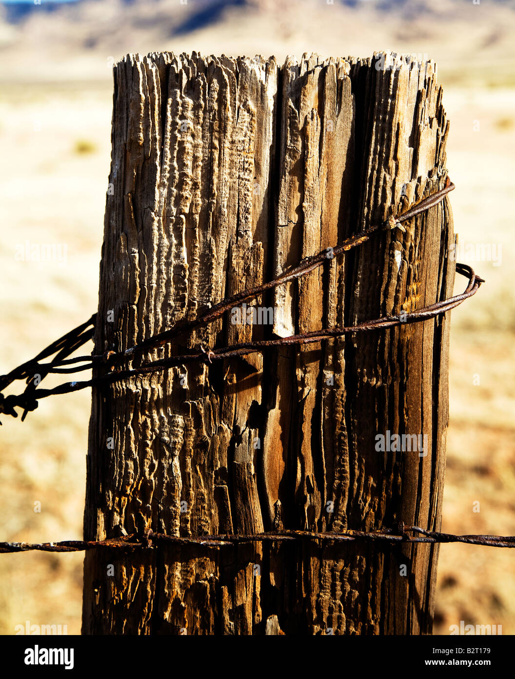 Wooden Fence Post Rusty Barbed Stock Photos Amp Wooden Fence