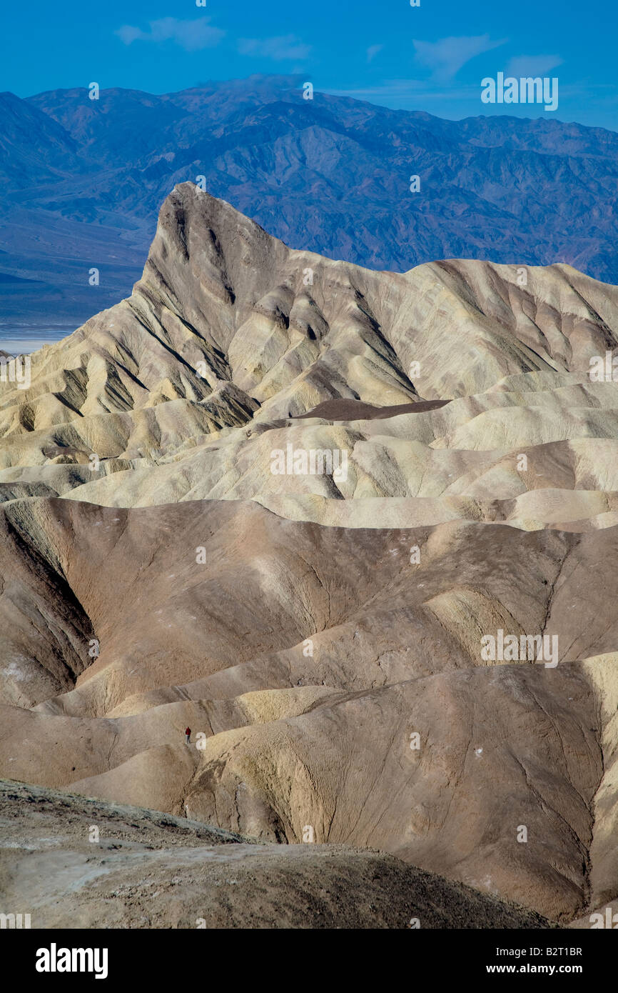 View over the Badlands, Death Valley from Zabriskie Point, California USA - Stock Image