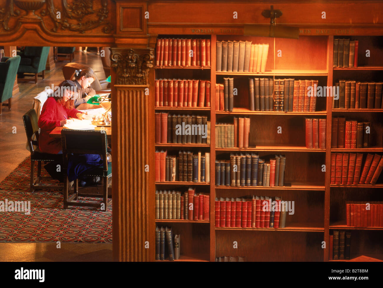 Two female students studying in Dartmouth College Library, an Ivy League school in New Hampshire Stock Photo