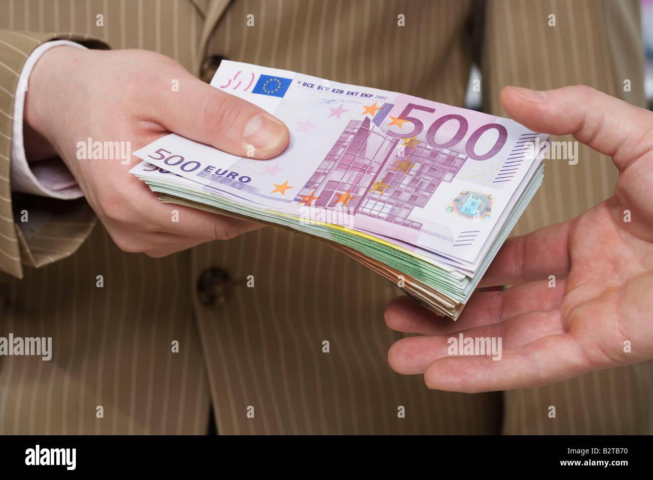 Transferring money-notes Stock Photo