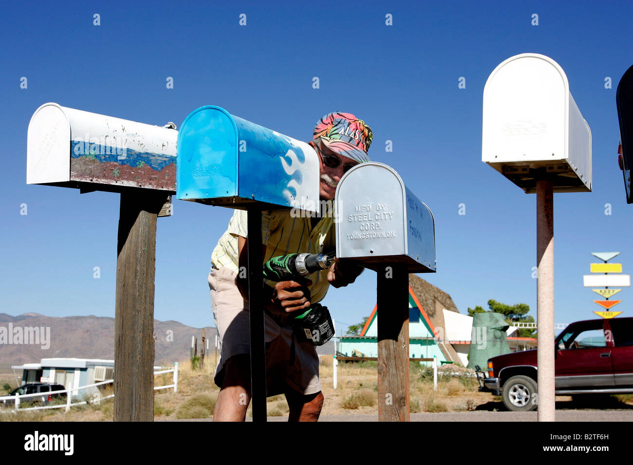 US KINGMAN Mailboxes along the famous Route 66 PHOTO GERRIT DE HEUS - Stock Image