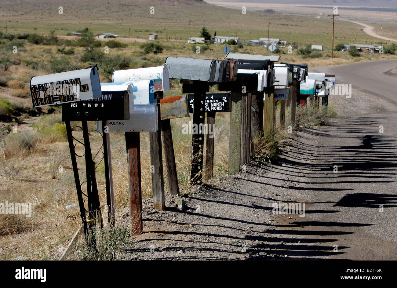 US KINGMAN Mailboxes on the famous Route 66 PHOTO GERRIT DE HEUS - Stock Image