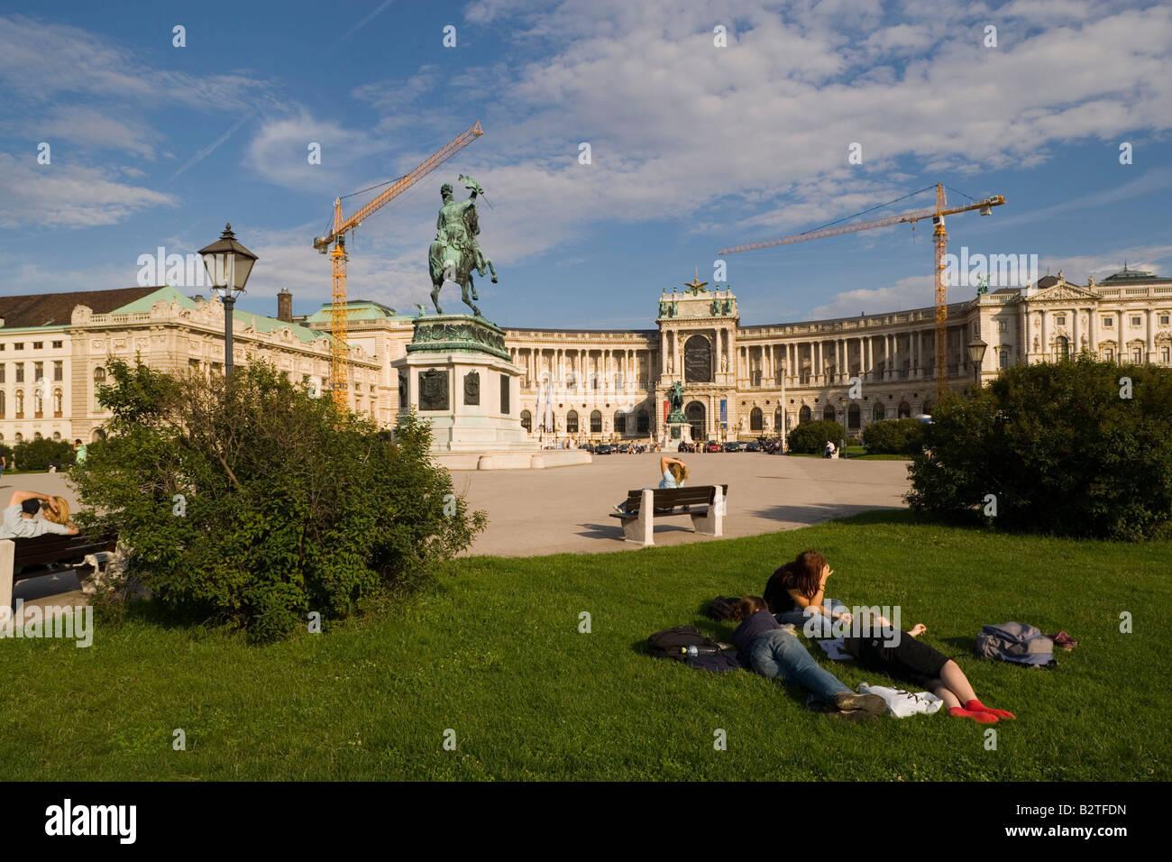 Erzherzog Karl Statue on Heldenplatz and Neue Hofburg Vienna, Austria - Stock Image