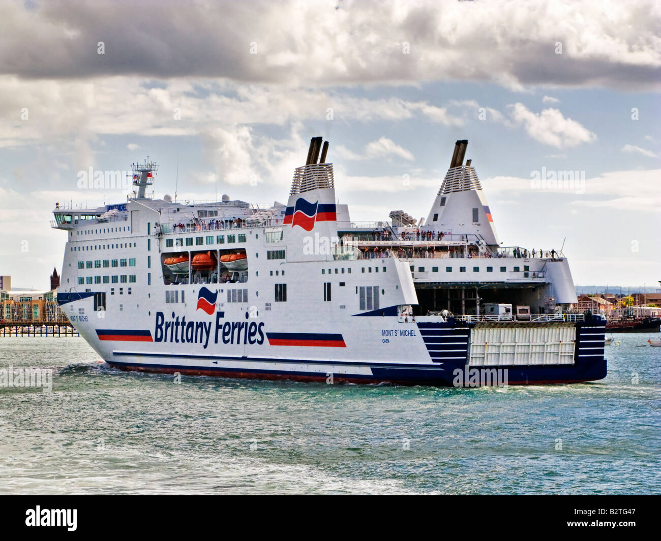 Large Brittany Ferries cross channel car ferry in Portsmouth Harbour, England, UK - Stock Image