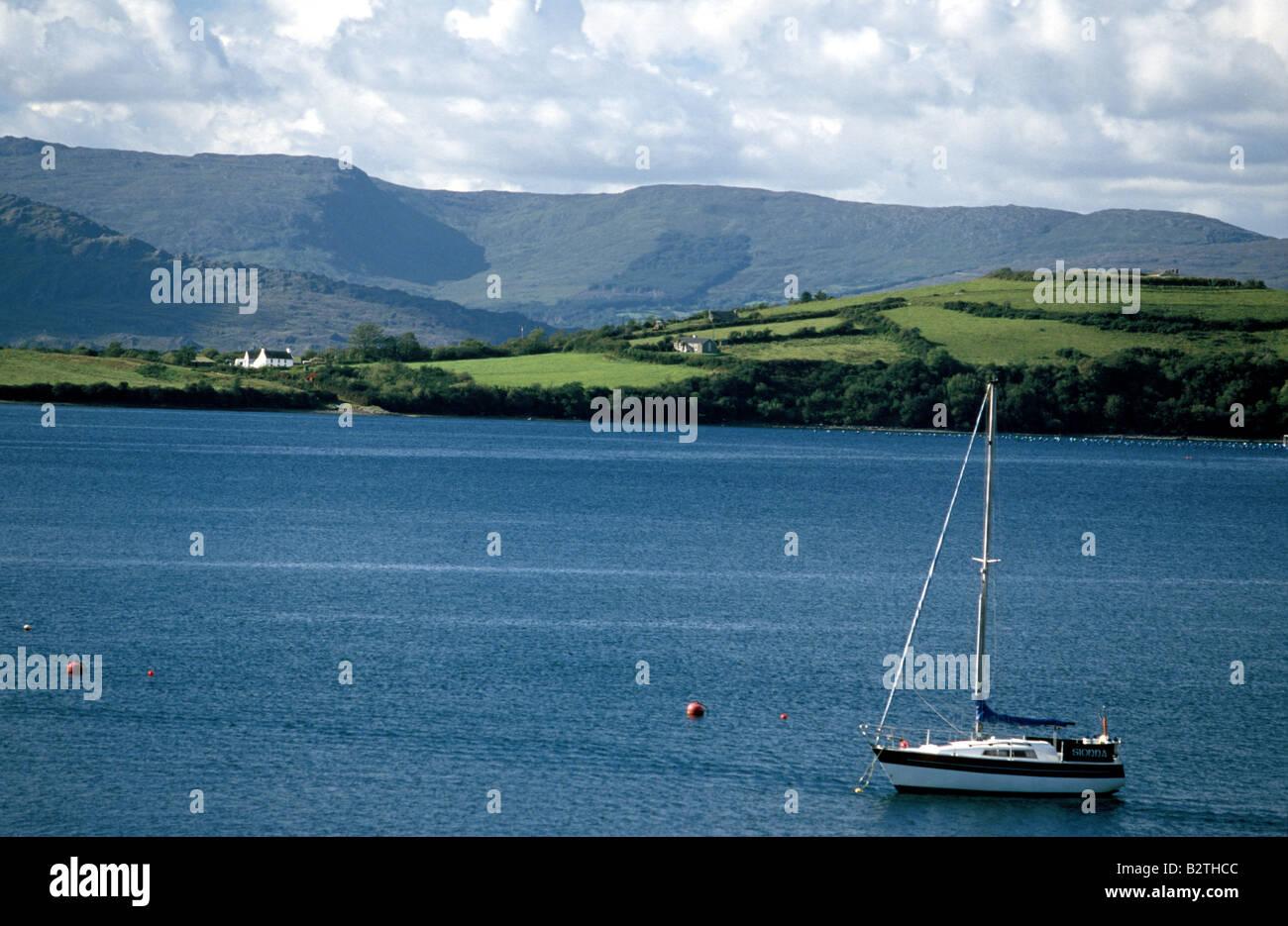 Sailboat on Bantry Bay, County West Cork, Ireland - Stock Image