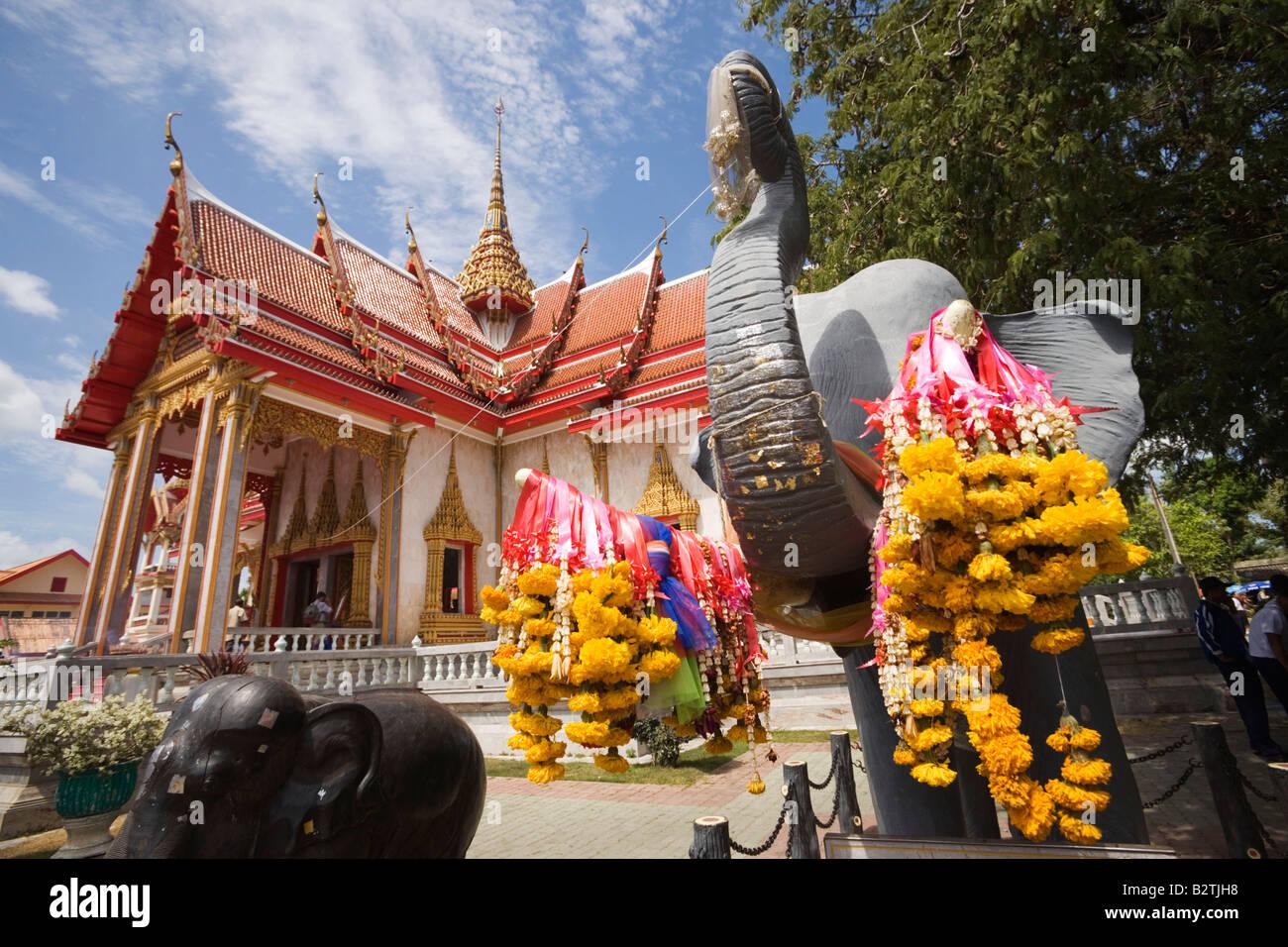 Elephants near of Ubosot, Wat Chalong, Phuket, Thailand Stock Photo