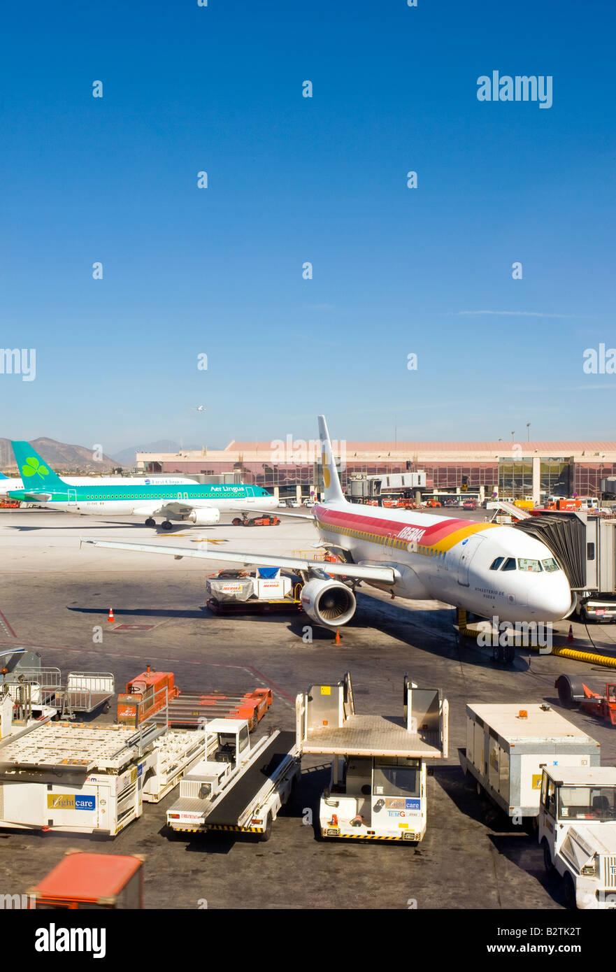 airport, aeroplane, aeroplanes, craft, ground maintenance, refuelling, refuel, airside - Stock Image