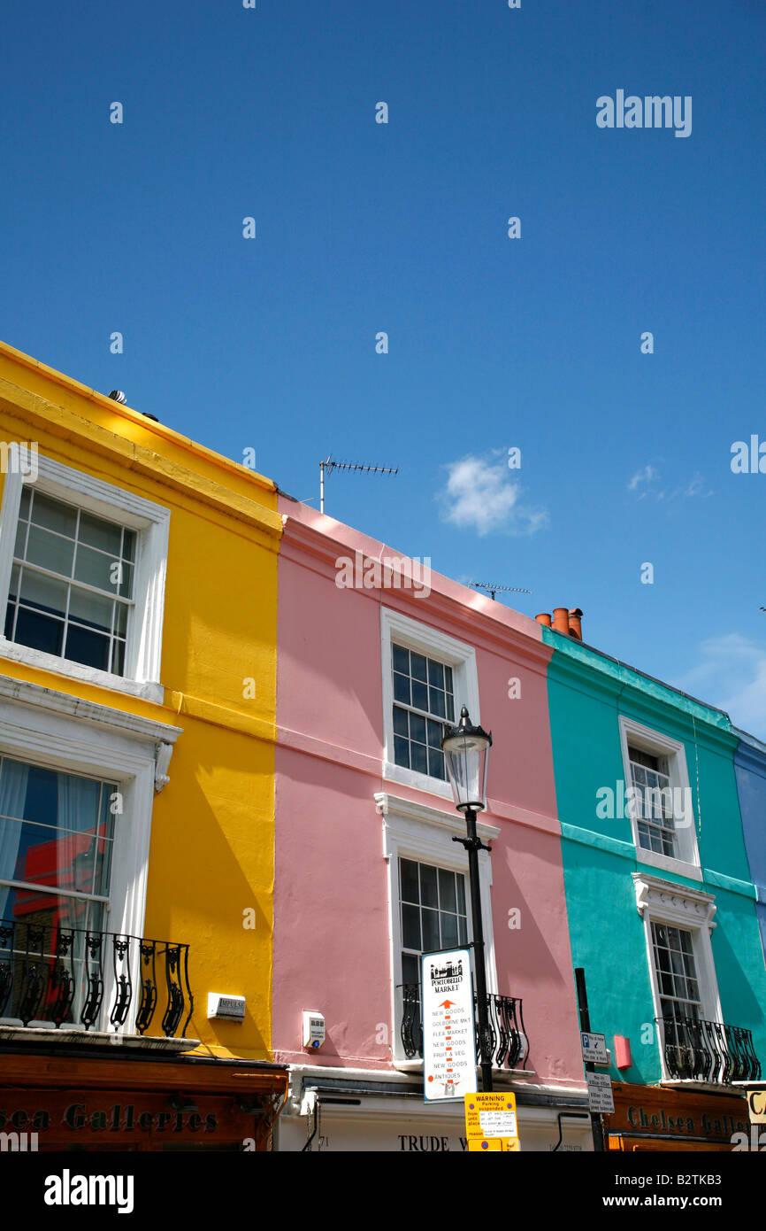 Brightly coloured housing on Portobello Road, Notting Hill, London - Stock Image