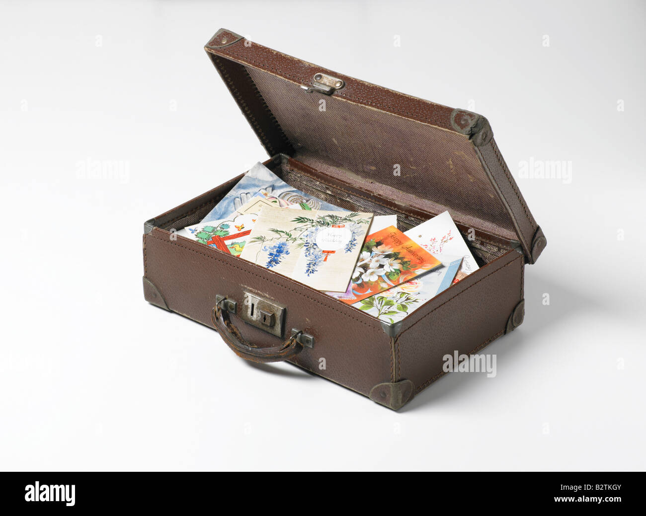 case of old greetings cards - Stock Image