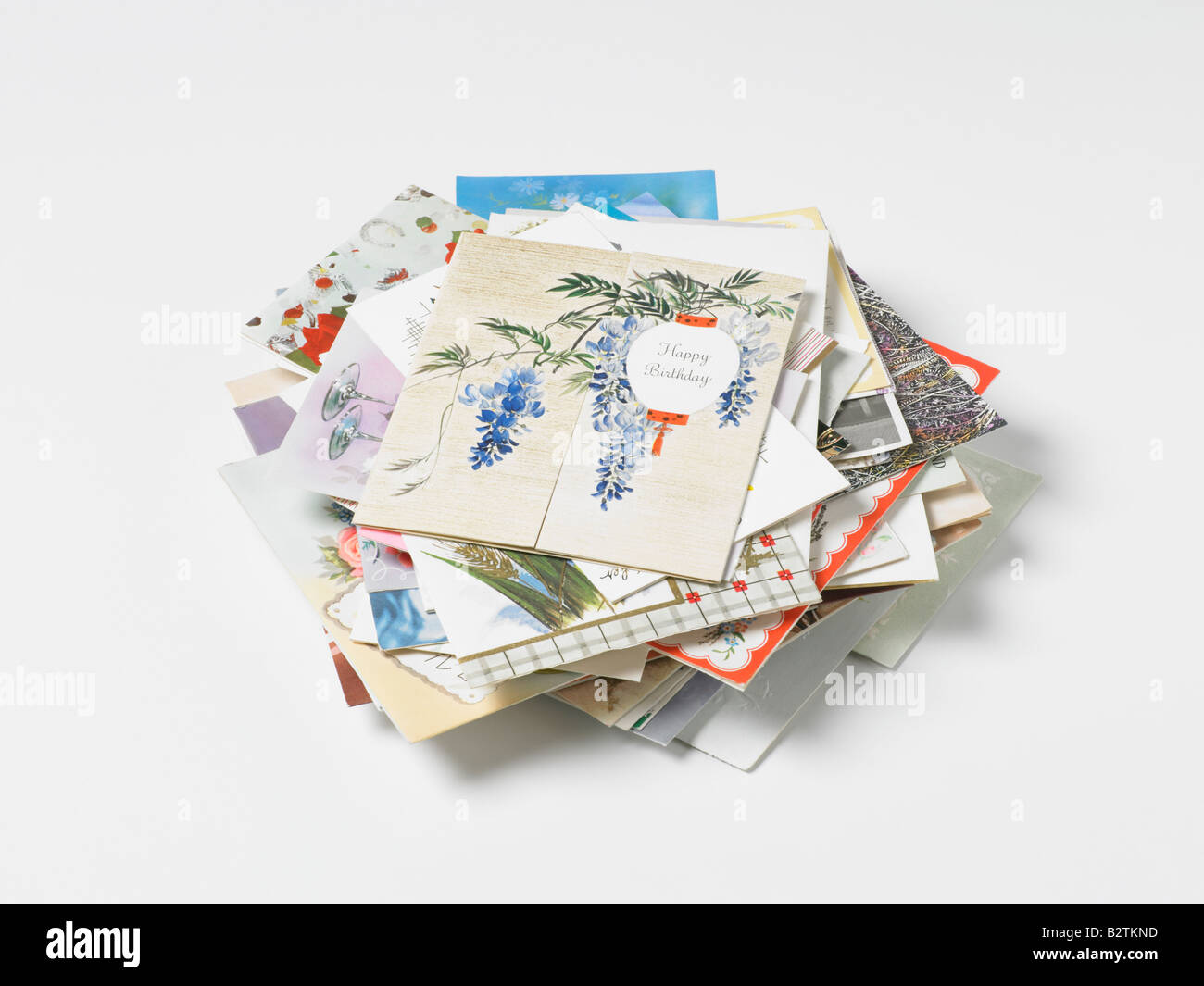 pile of old greetings cards - Stock Image