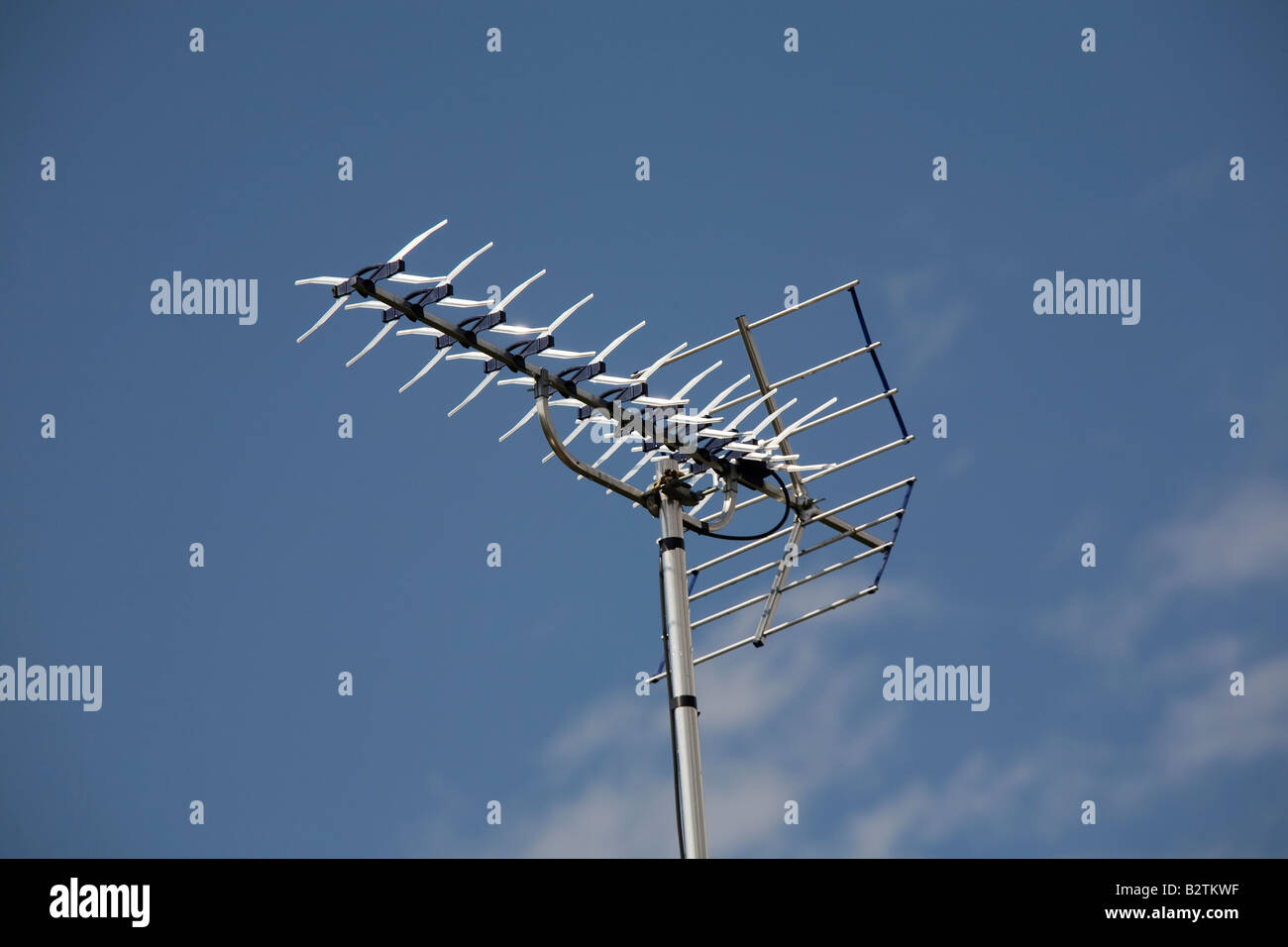 An analogue signal TV television aerial antenna soon to be discontinued in the UK - Stock Image