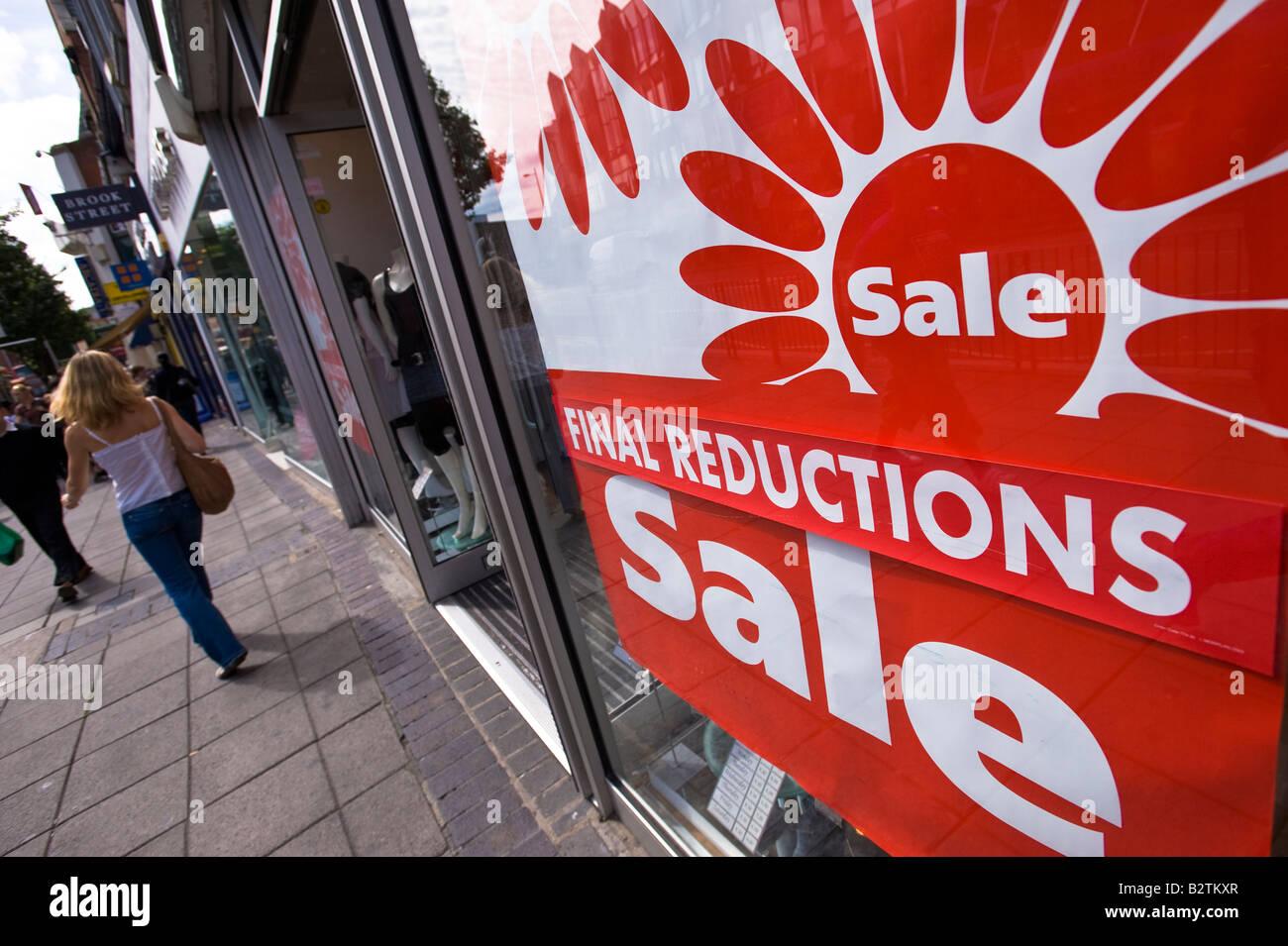 Sale sign in shop window W5 Ealing London United Kingdom - Stock Image