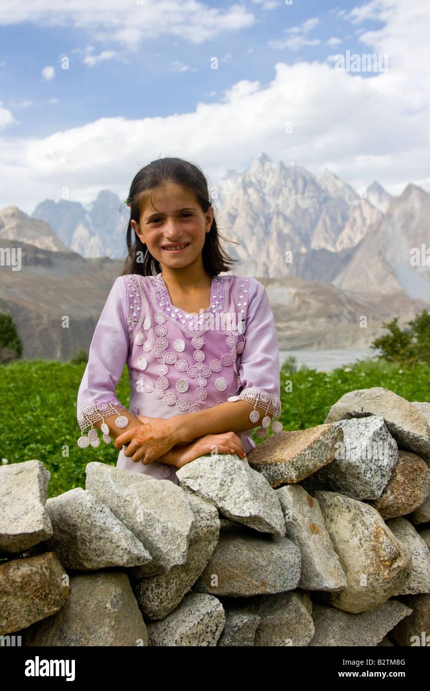 Young Hunza Girl Near Passu in Northern Pakistan - Stock Image