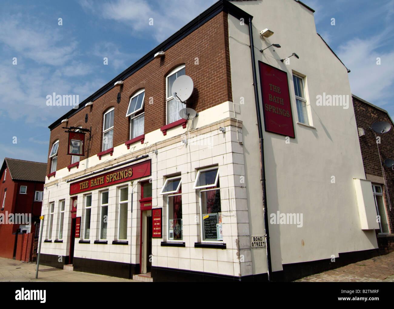 Bath Springs Pub, 103 Kemble Street, Prescot L34 5SG,UK - Stock Image