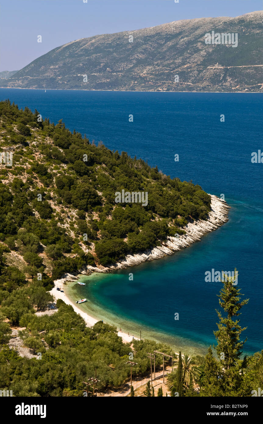 Looking down on Giagana beach one of many remote beaches between Agia Efimia and Fiskardo in Northern Cephallonia - Stock Image