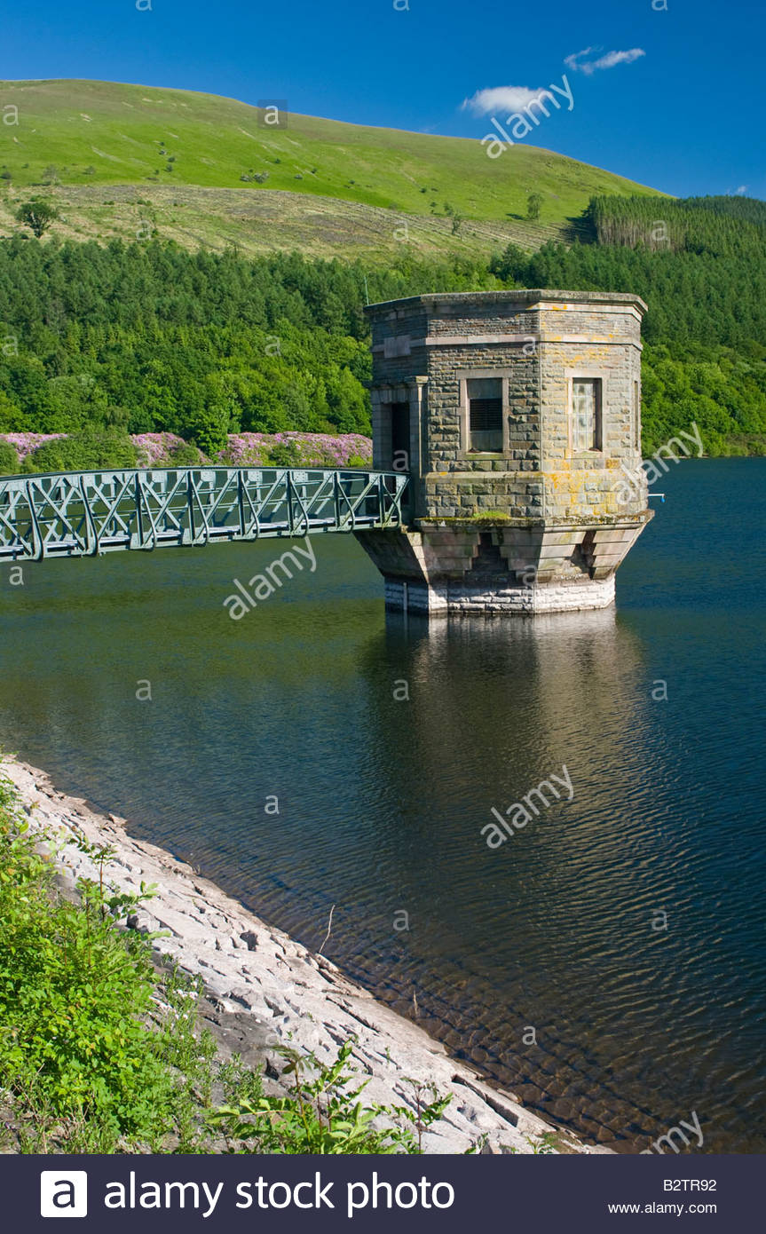 Reservoir intake valve tower; Talybont Reservoir Powys Wales UK - Stock Image