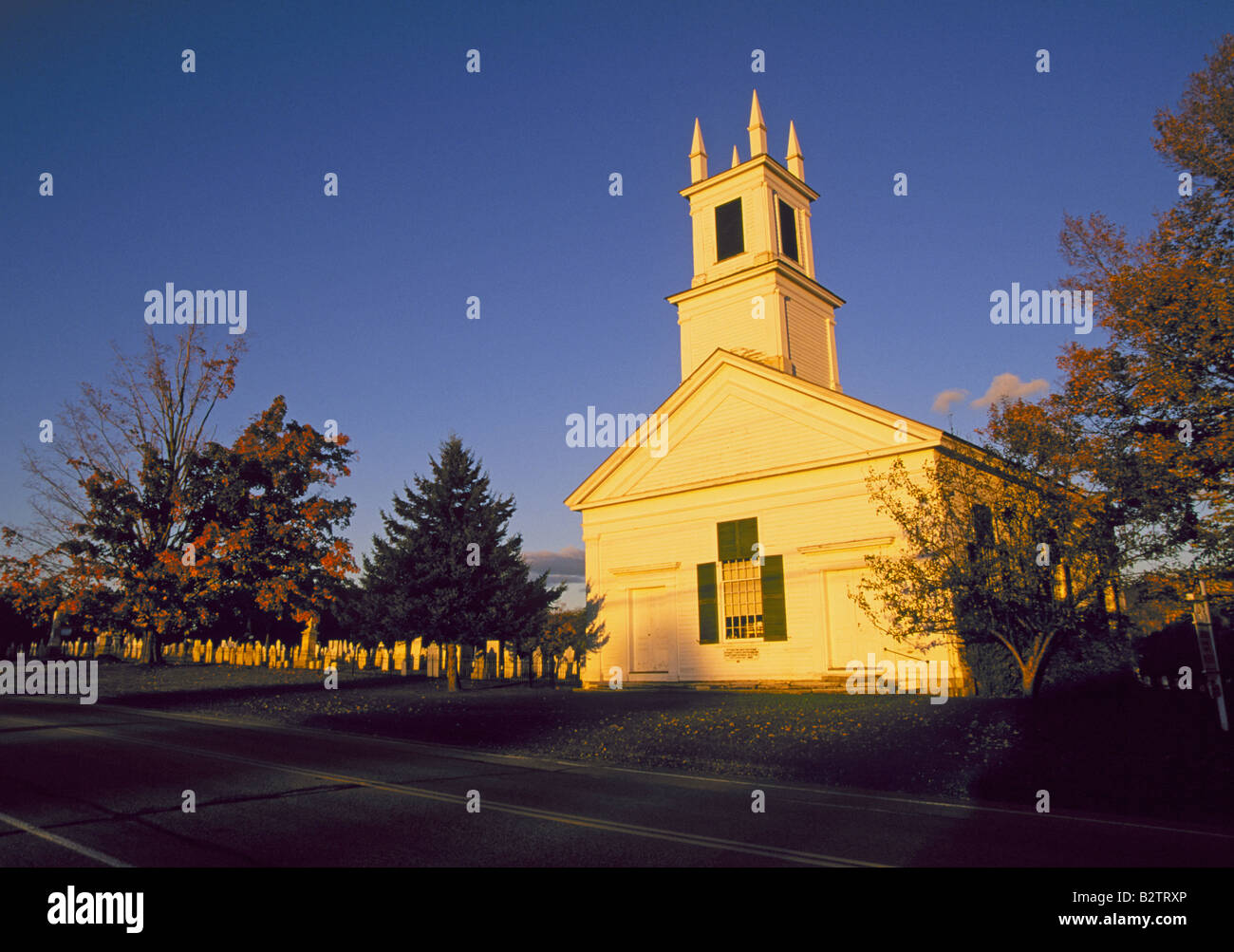 A Beautiful Country Church In The October Color Change At Sunset Near Town Of Rupert Vermont Green Mountains