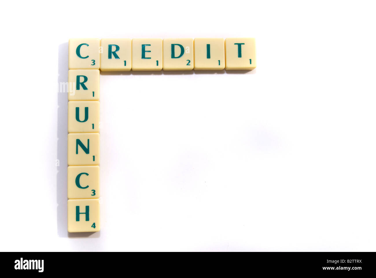 Scrabble pieces spell-out the phrase Credit Crunch - Stock Image