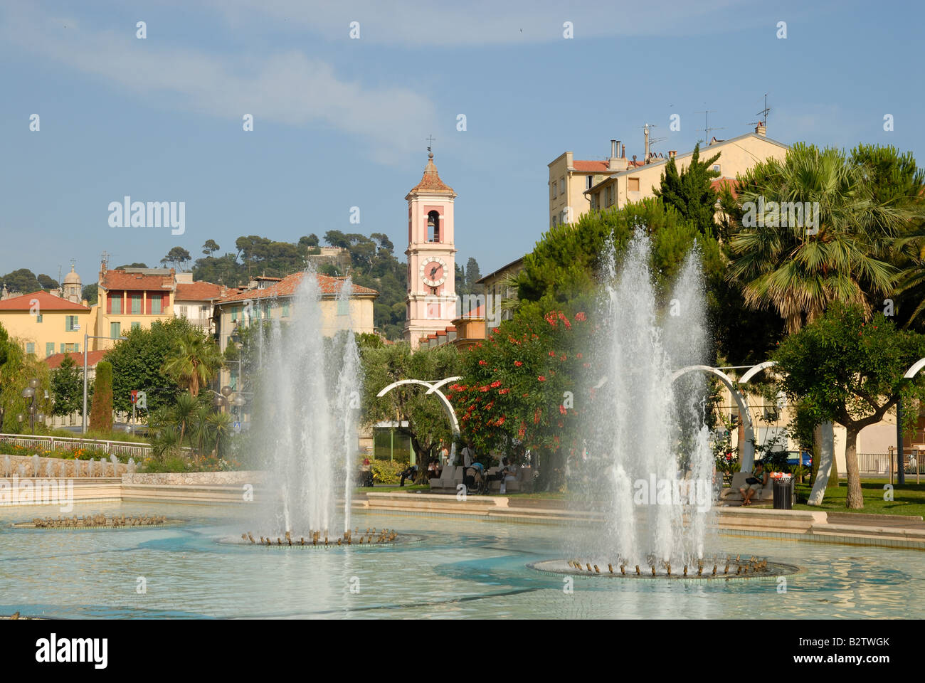 Fountains at Massena Square in Nice, France Stock Photo