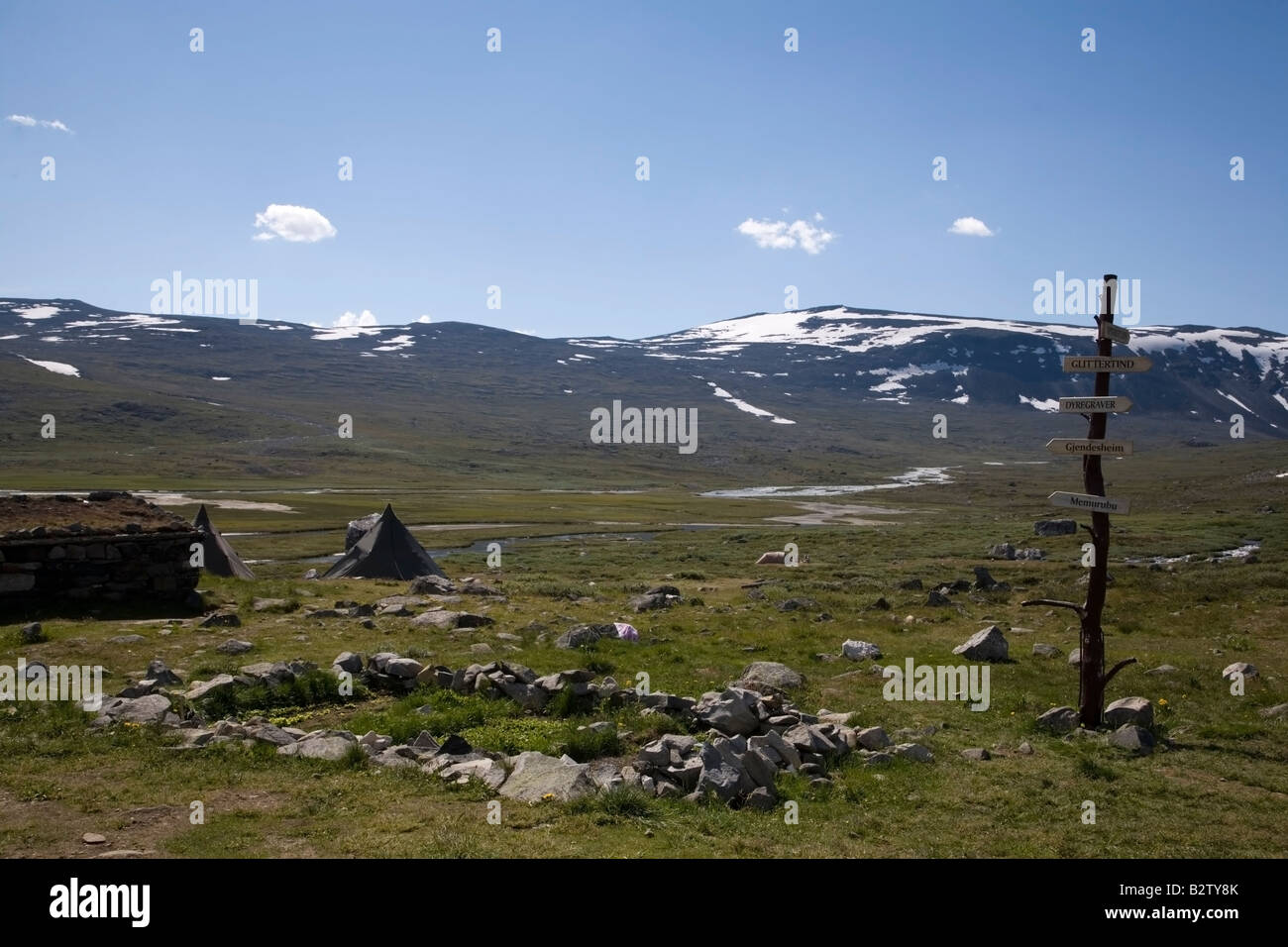 Norway Glittertind Laplander s tents hut and sign in fjell landscape - Stock Image