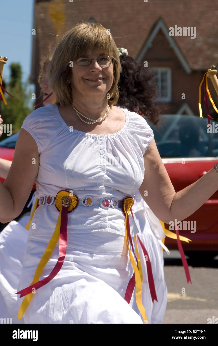 Summer Solstice Morris Dancers, Rushlake Green, East Sussex, England. - Stock Image