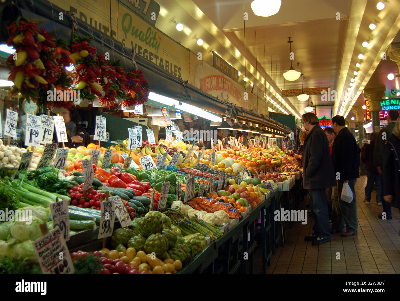 Fresh Fruits and Vegetables Arcade Stock Photo