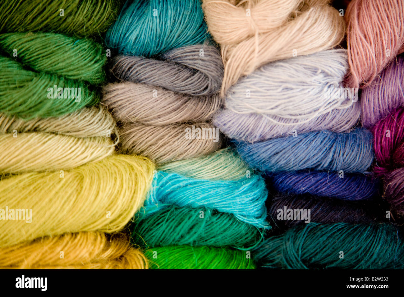 Skeins of multicoloured linen - Stock Image