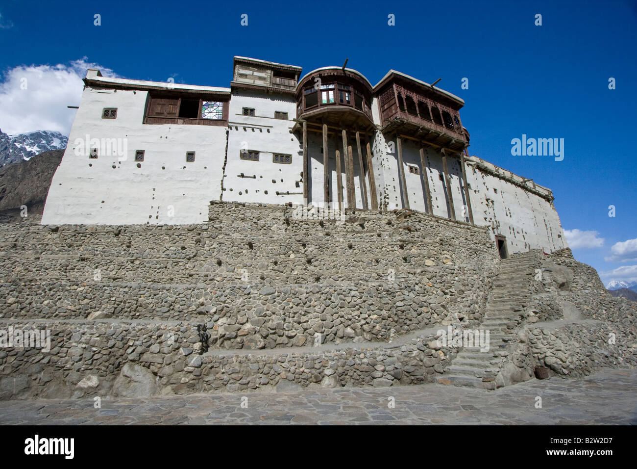 Baltit Fort in Karimabad in the Hunza Valley in Northern Pakistan - Stock Image