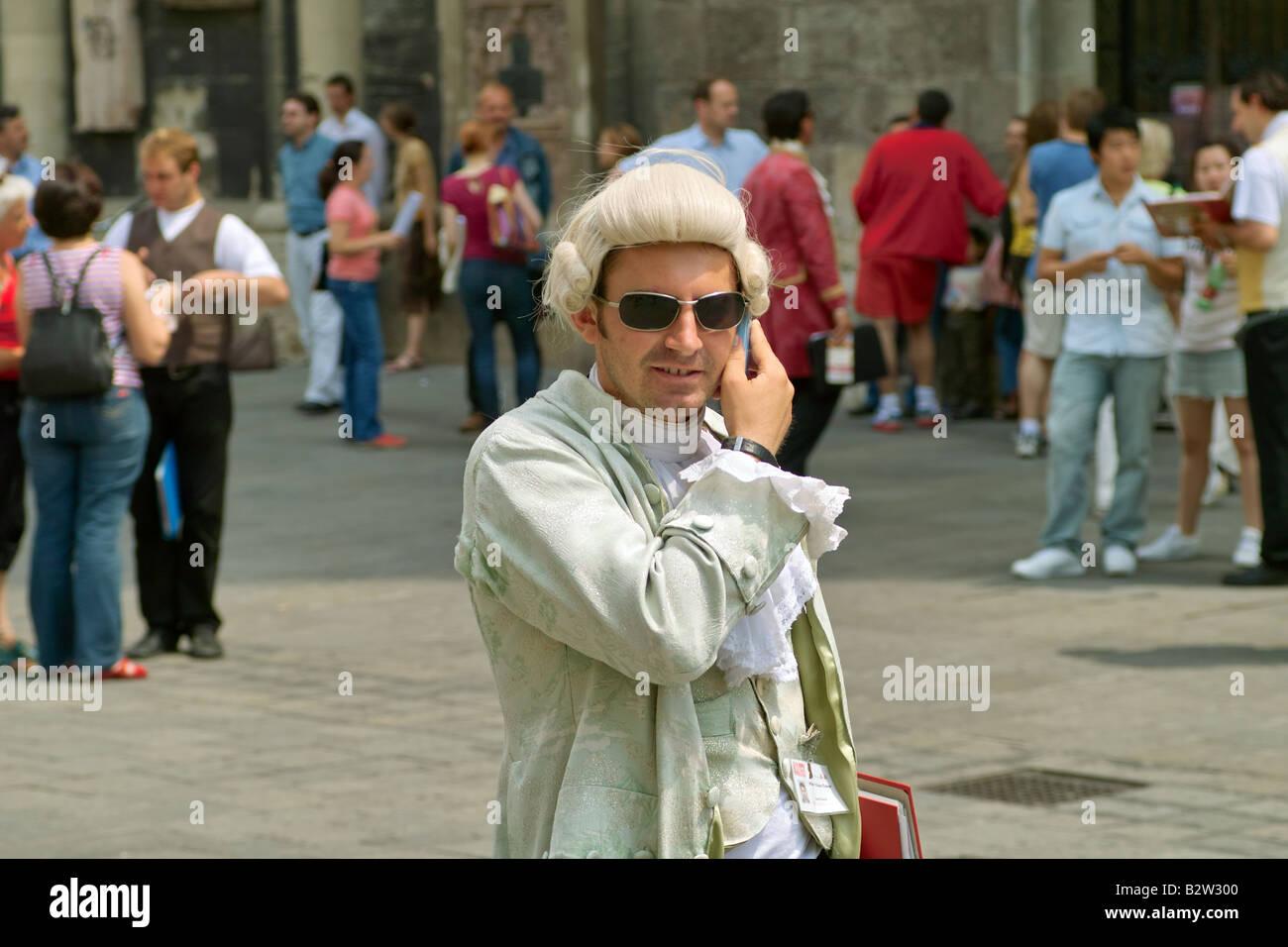 18th Century man on mobile phone - Stock Image