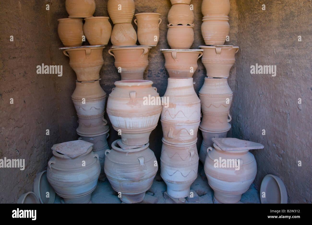 Fired pots in kiln at pottery in Thrapsano on the Greek Mediterranean island of Crete GR EU Stock Photo