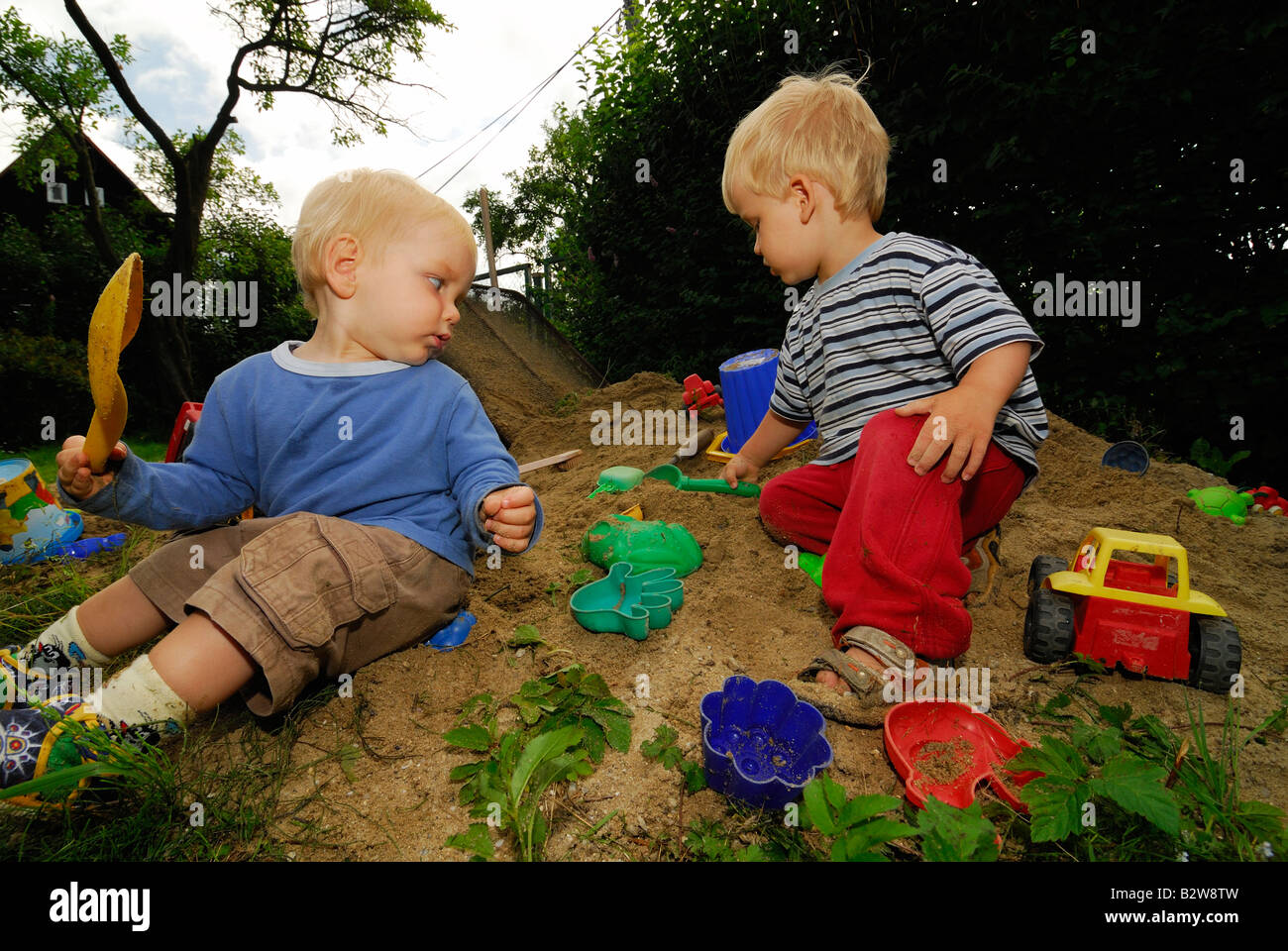 Baby Babys Children Boy Boys In Sand Pit Playing Toys Playground 1 2