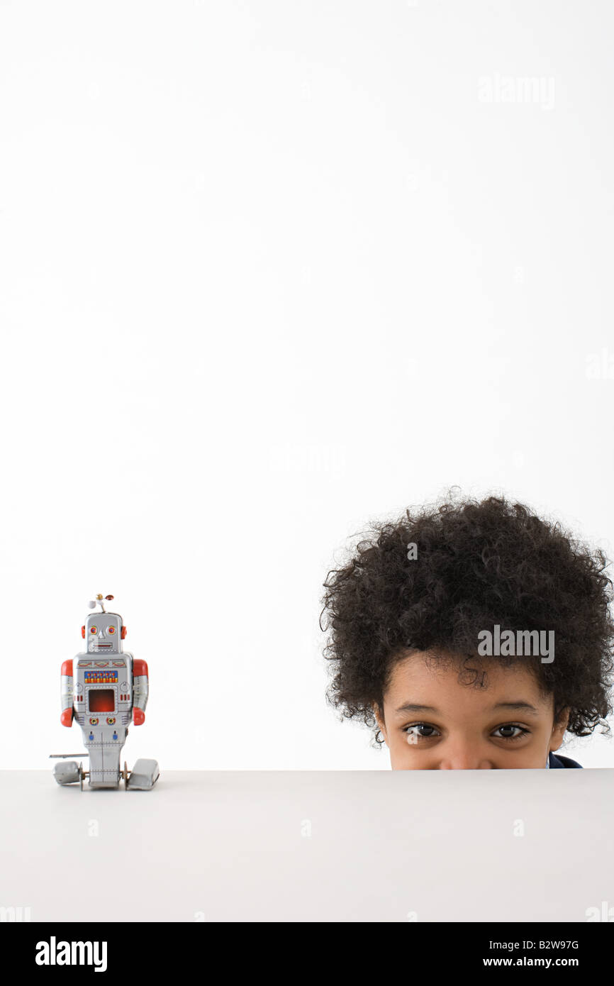 Boy and robot - Stock Image
